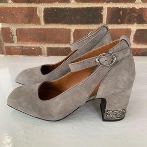 Franco Sarto grey suede blocked heel pump strap